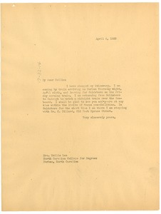 Thumbnail of Letter from W. E. B. Du Bois to Mollie Lee