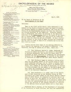 Thumbnail of Letter from Anson Phelps Stokes to Members of the Executive Committee of the             Encyclopedia of the Negro