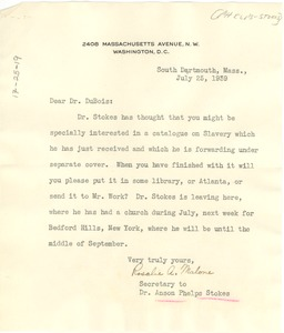 Thumbnail of Letter from Rosalie A. Malone to W. E. B. Du Bois