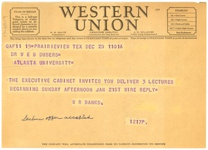 Thumbnail of Telegram from Prairie View State Normal and Industrial College to W. E. B. Du Bois