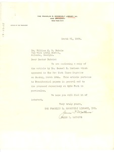 Thumbnail of Letter from Franklin D. Roosevelt Library to W. E. B. Du Bois