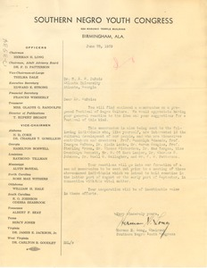 Thumbnail of Letter from Southern Negro Youth Conference to W. E. B. Du Bois