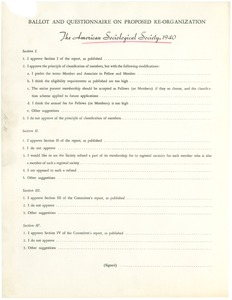 Thumbnail of American Sociological Society ballot and questionnaire on proposed             re-organization