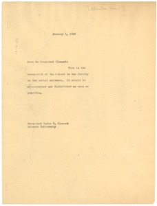 Thumbnail of Memorandum from W. E. B. Du Bois to Rufus E. Clement