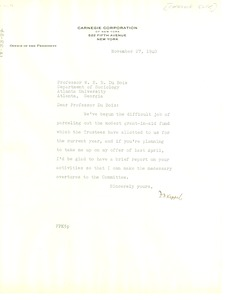 Thumbnail of Letter from Carnegie Foundation to W. E. B. Du Bois