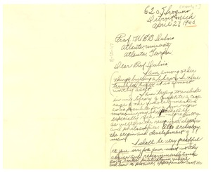 Thumbnail of Letter from Paul C. Hawly to W. E. B. Du Bois