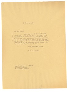 Thumbnail of Letter from W. E. B. Du Bois to Gwendolyne L. Holland