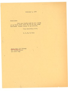 Thumbnail of Letter from W. E. B. Du Bois to Henry Holt and Company
