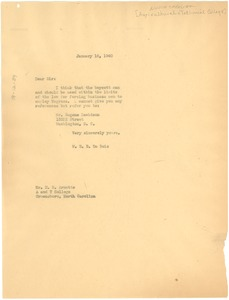 Thumbnail of Letter from W. E. B. Du Bois to Agricultural and Technical College of North Carolina