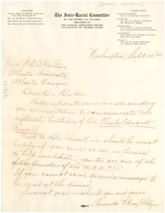 Thumbnail of Letter from NAACP Inter-racial Committee to W. E. B. Du Bois