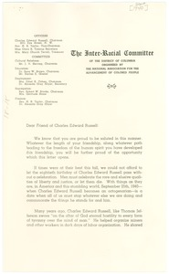 Thumbnail of Circular letter from NAACP Inter-racial Committee to W. E. B. Du Bois