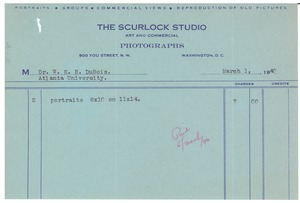 Thumbnail of Invoice from Scurlock Studio to W. E. B. Du Bois