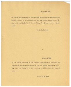 Thumbnail of Letter from W. E. B. Du Bois to Spelman College
