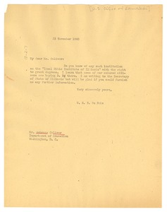 Thumbnail of Letter from W. E. B. Du Bois to United States Office of Education