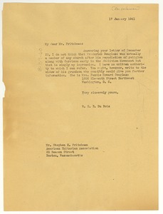 Thumbnail of Letter from W. E. B. Du Bois to American Unitarian Association