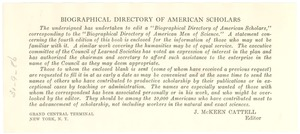 Thumbnail of Biographical Directory of American Scholars editor's note