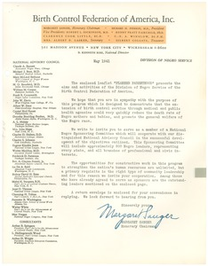 Thumbnail of Letter from Birth Control Federation of America