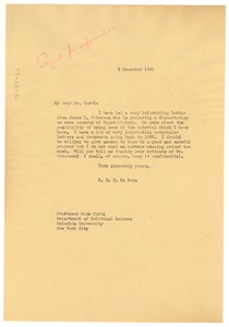 Thumbnail of Letter from W. E. B. Du Bois to Merle Curti