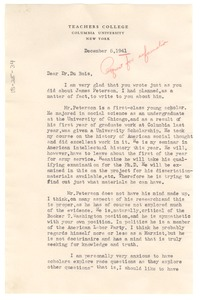 Thumbnail of Letter from Merle Curti to W. E. B. Du Bois