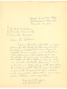 Thumbnail of Letter from K. E. Whitehurst to W. E. B. Du Bois