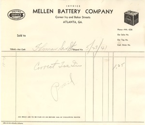Thumbnail of Invoice from Mellen Battery Company to W. E. B. Du Bois