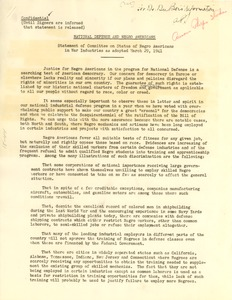 Thumbnail of Statement of Committee on Status of Negro Americans in War Industries as             adopted March 29, 1941