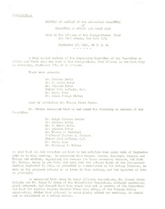 Thumbnail of Minutes of meeting of the Organizing Committee of Committee on Africa and Peace             Aims