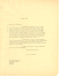 Thumbnail of Letter from W. E. B. Du Bois to Tracy Phillips
