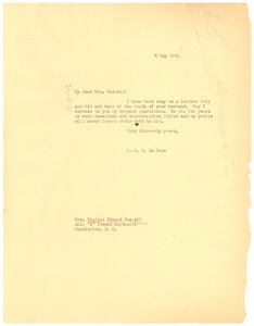 Thumbnail of Letter from W. E. B. Du Bois to Mrs. Charles Edward Russell