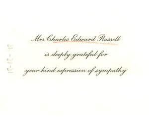 Thumbnail of Thank you card from Mrs. Charles Edward Russell to W. E. B. Du Bois