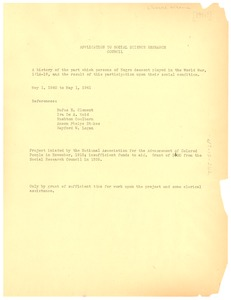 Thumbnail of Application to Social Science Research Council