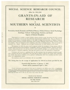 Thumbnail of Social Science Research Council grants-in-aid announcement, January, 1941