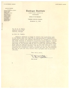 Thumbnail of Letter from Tuskegee Institute to W. E. B. Du Bois