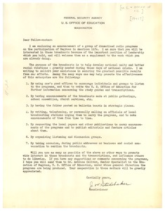 Thumbnail of Circular letter from United States Office of Education to W. E. B. Du Bois