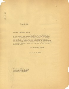 Thumbnail of Letter from W. E. B. Du Bois to Virginia State College