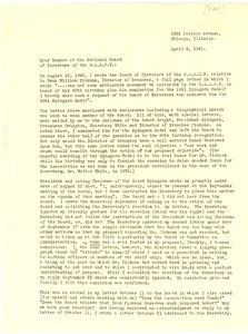 Thumbnail of Memorandum from Archie L. Weaver to N.A.A.C.P. Board of Directors