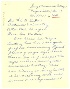 Thumbnail of Letter from Louise Young to W. E. B. Du Bois