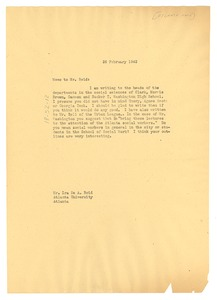 Thumbnail of Memo from W. E. B. Du Bois to Ira De A. Reid