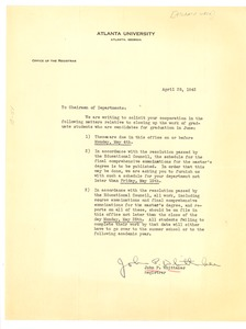 Thumbnail of Memo from John P. Whittaker to the Chairmen of Departments