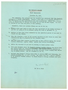 Thumbnail of Memo from Ira De A. Reid to the People's College