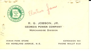 Thumbnail of Business card of R. G. Jobson, Jr.