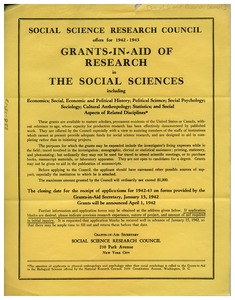 Thumbnail of Social Science Research Council grants-in-aid announcement, January 1942