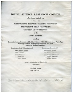 Thumbnail of Social Science Research Council fellowship and grants-in-aid announcement, January 1942