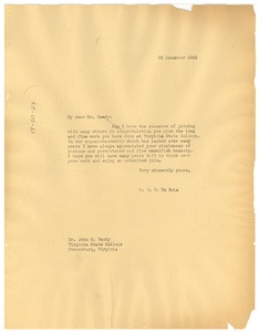 Thumbnail of Letter from W. E. B. Du Bois to Virginia State College for Negroes