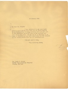 Thumbnail of Letter from W. E. B. Du Bois to Louis T. Wright