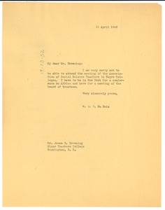 Thumbnail of Letter from W. E. B. Du Bois to Association of Social Science Teachers in Negro             Colleges
