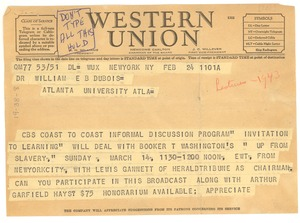 Thumbnail of Telegram from Columbia Broadcasting System to W. E. B. Du Bois