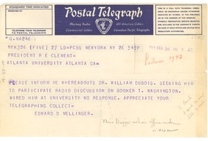 Thumbnail of Telegram from Columbia Broadcasting System to Atlanta University