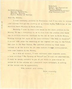 Thumbnail of Letter from P. S. Joshi to W. E. B. Du Bois