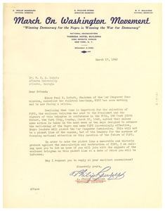 Thumbnail of Circular letter from March on Washington Movement to W. E. B. Du Bois